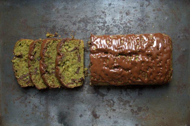 Cake thé Matcha et chocolat noir